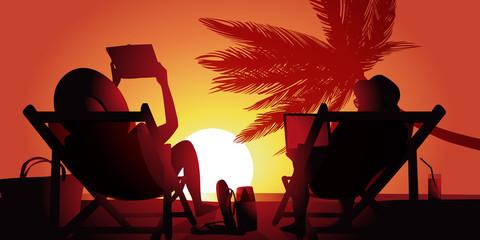 Vacances Plage Couple-couche de soleil