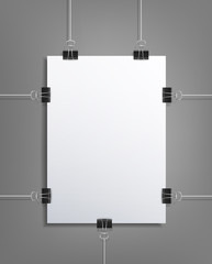 Design Element (vector pattern) sheet of white paper hanging on