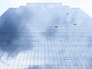 Architecture detail Modern Facade with Cloud sky Reflection