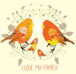 beautiful background with bird families and floral wreath