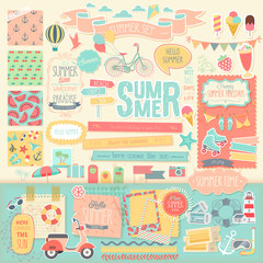 Wall Mural - Summer scrapbook set - decorative elements.