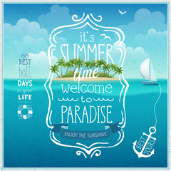 Wall Mural - Summer time poster with tropical background.