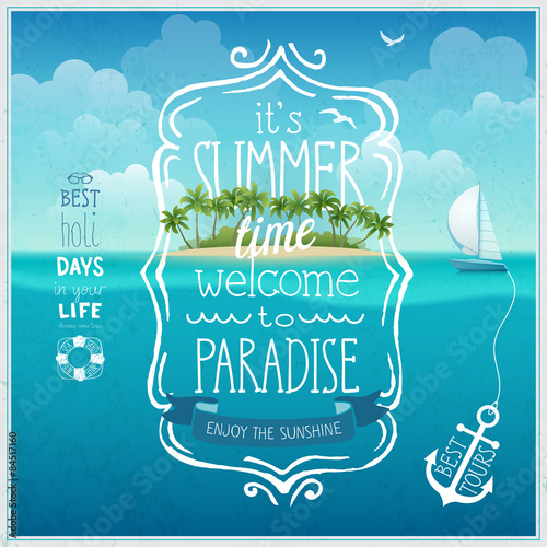 Wall mural Summer time poster with tropical background.