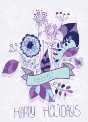 purple flowers bouquet with happy holidays ribbon