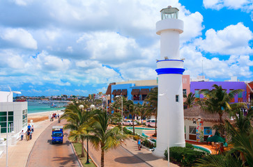 Beautiful quay with white lighthouse. Cozumel, Mexico.