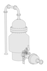cartoon image of vacuum distillation unit