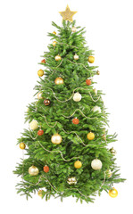 Decorated Christmas tree isolated on white