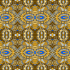 geometry vintage floral seamless pattern, ethnic style