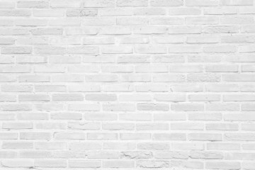Poster Brick wall White grunge brick wall texture background