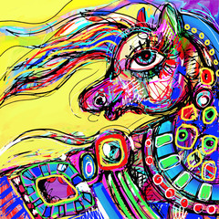 original abstract digital drawing of colored head horse