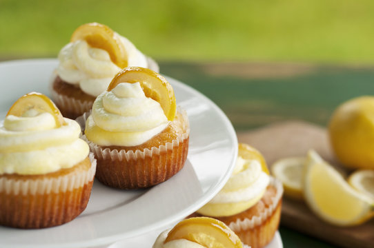 Lemon cupcakes in the garden