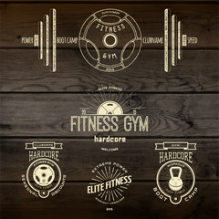 Fitness gym badges logos and labels for any use
