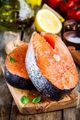 Two fresh raw salmon steaks closeup