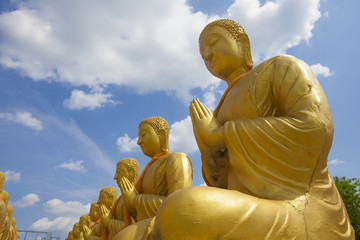 differences image act of golden Buddha statue outdoor Thailand