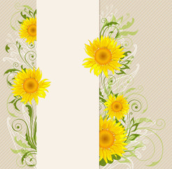 Banner with yellow sunflowers