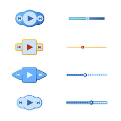 Vector illustration set of media player buttons and timelines.