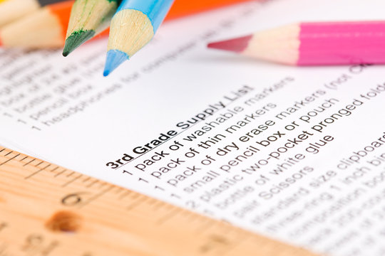 Education: School Supply List with Pencils and Supplies