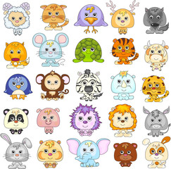 Full set of funny cartoon animals