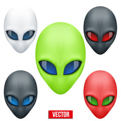 Set of Alien head creature from another world. Vector.