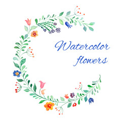Watercolor flower vector background