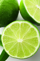 Sliced fresh limes