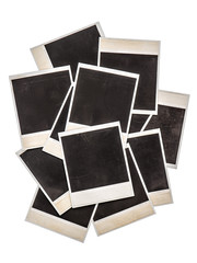 Old instant photo frames isolated on background