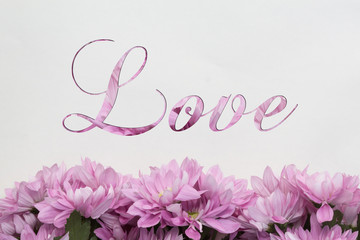 Love - Flowers frame on white background