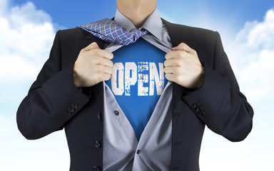 businessman showing Open word underneath his shirt