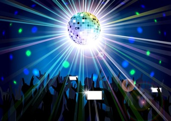 Disco ball of silhouettes background people. Vector