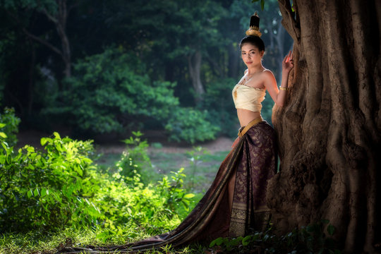 Asian woman in  traditional dress