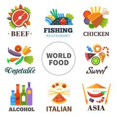 World of food. Vector flat  logo set
