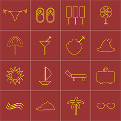 Set beach icons
