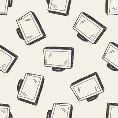 tv doodle seamless pattern background