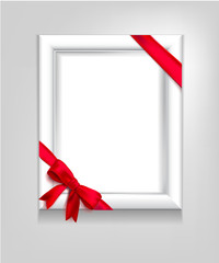 Blank white frame with red ribbon and bow on a light gray background. Vector illustration