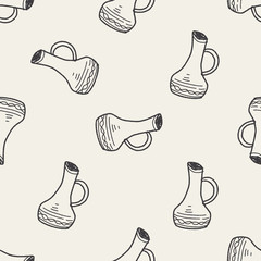 Kettle doodle  seamless pattern background