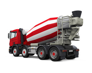 Red Concrete Mixer Truck