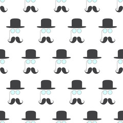 Pattern with pince-nez, mustache and hat
