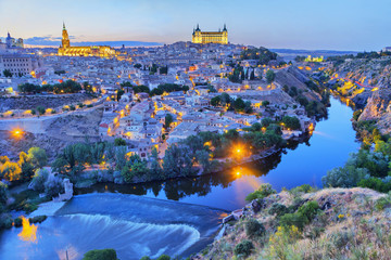 Toledo in the evening with picturesque bend of river Tajo