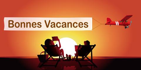 Vacances message Couple-couche de soleil