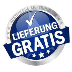 Button with banner Lieferung gratis