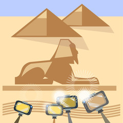 Tourism in Egypt, tours, vector illustration