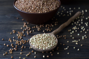 Green and brown buckwheat on a wooden surface