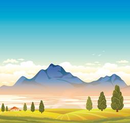 Foto op Plexiglas Lichtblauw Rural landscape with mountain and field.