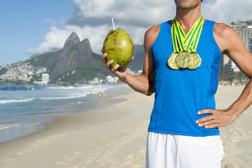 Gold Medal Athlete Celebrating with Coconut Rio