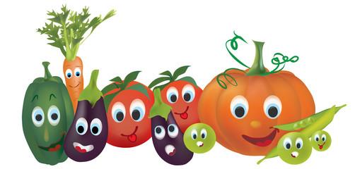 Cartoon Vegetables. Illustration of Pepper, Pumpkin, Peas, Tomatoes, Eggplant and  Carrot
