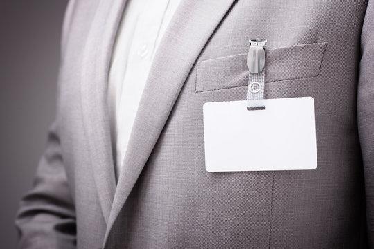 Businessman wearing blank name tag
