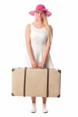 Mädchen mit Koffer ist angekommen