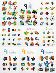 Set of abstract paper elements, infographics templates