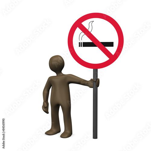 braunes m nnchen mit schild rauchen verboten 3d. Black Bedroom Furniture Sets. Home Design Ideas