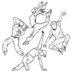 ジャズダンサーのスケッチ風(人体の背景白)